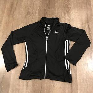 Women's adidas black stripe zip up jacket Sz M
